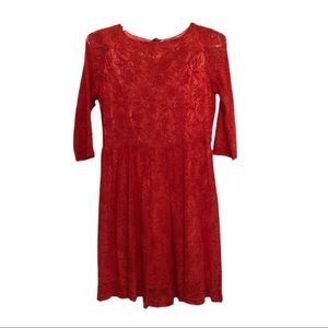 """Xtaren Lace Dress, Coral, Size L, 19"""" Long"""